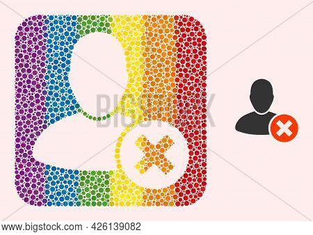 Dotted Mosaic Delete User Subtracted Icon For Lgbt. Rainbow Colored Rounded Square Mosaic Is Around