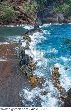 Sand Beach, Maui In In Hawaiian. Sea Wave And Rock, Summer Beach Background.