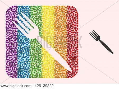 Dot Mosaic Fork Subtracted Pictogram For Lgbt. Color Rounded Rectangle Mosaic Is Around Fork Subtrac