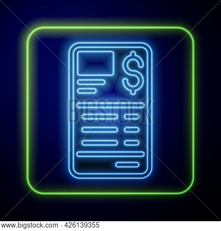 Glowing Neon Paper Or Financial Check Icon Isolated On Blue Background. Paper Print Check, Shop Rece