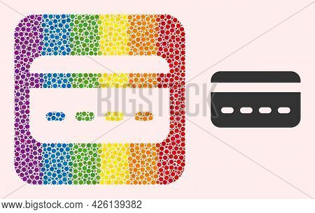 Dotted Mosaic Credit Card Subtracted Icon For Lgbt. Multicolored Rounded Square Mosaic Is Around Cre