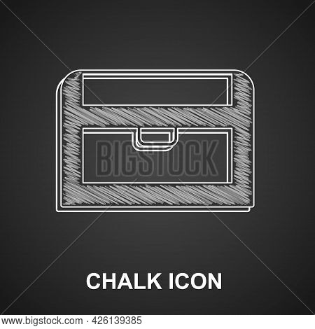 Chalk Antique Treasure Chest Icon Isolated On Black Background. Vintage Wooden Chest With Golden Coi