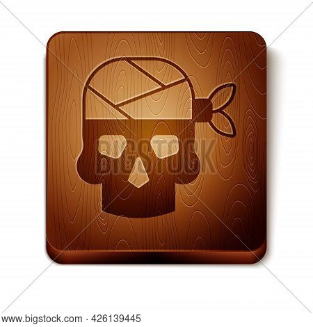 Brown Pirate Captain Icon Isolated On White Background. Wooden Square Button. Vector