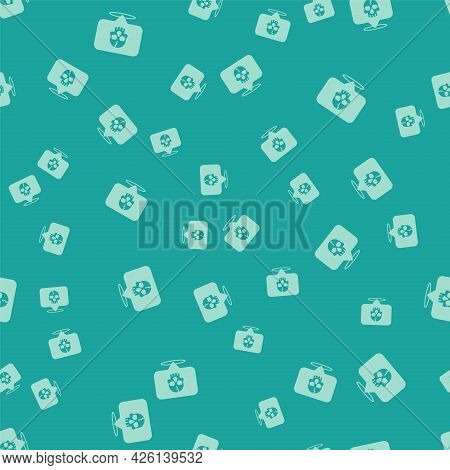 Green Skull Icon Isolated Seamless Pattern On Green Background. Pirate Captain. Happy Halloween Part
