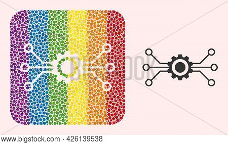 Dot Mosaic Digital Technology Carved Pictogram For Lgbt. Multicolored Rounded Square Mosaic Is Aroun
