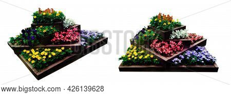 Two Flowerbed Is A Multi-level Bed With Wooden Fences With Many Beautiful Annual Flowers Of Various