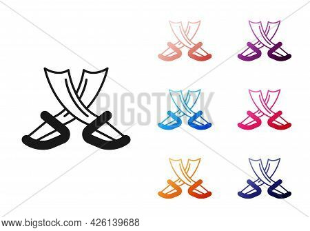 Black Crossed Pirate Swords Icon Isolated On White Background. Sabre Sign. Set Icons Colorful. Vecto