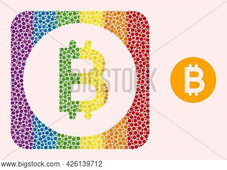 Dotted Mosaic Bitcoin Gold Coin Subtracted Icon For Lgbt. Colorful Rounded Rectangle Mosaic Is Aroun