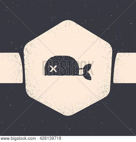 Grunge Pirate Bandana For Head Icon Isolated On Grey Background. Monochrome Vintage Drawing. Vector