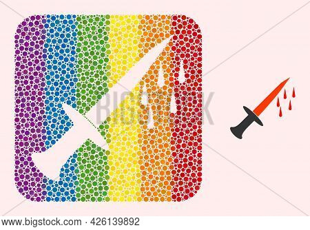 Dotted Mosaic Blood Sword Subtracted Icon For Lgbt. Multicolored Rounded Rectangle Mosaic Is Around