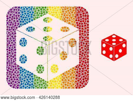 Dot Mosaic Dice Cube Hole Pictogram For Lgbt. Colored Rounded Rectangle Mosaic Is Around Dice Cube H