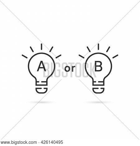Two Thin Line Light Bulb Like Planning. Flat Linear Trend Modern Black Lightbulb Logotype Graphic Ar