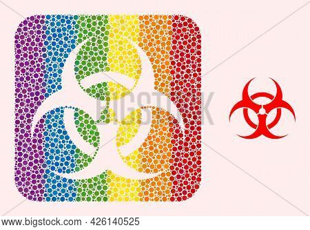 Dotted Mosaic Biohazard Hole Pictogram For Lgbt. Colorful Rounded Square Mosaic Is Around Biohazard
