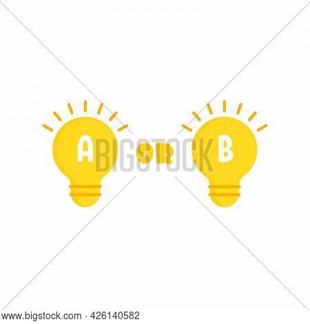 Light Bulb With Bad Or Good Idea. Simple Trend Modern Cartoon Lightbulb Logotype Graphic Minimal Art