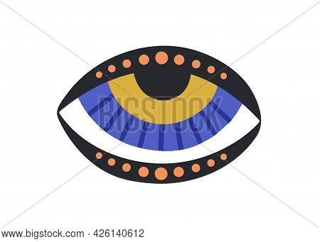 Esoteric Evil Eye With Eyelids. Mystical Sacred Eyeball In Doodle Style. Magic Spiritual Symbol Of L