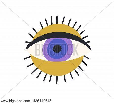 Esoteric Magic Eyeball Over Sun Circle. Spiritual Ra Eye In Doodle Style. Modern Abstract Symbol Of