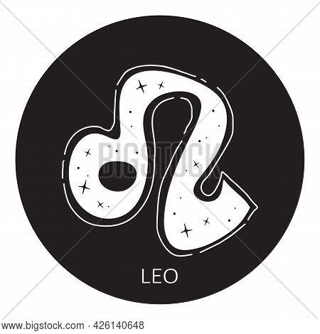 Zodiac Sign Leo Isolated On White Background. Zodiac Constellation. Design Element For Horoscope And