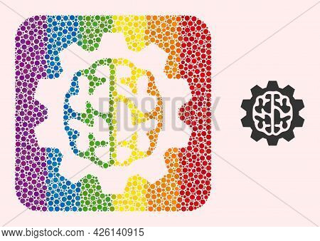 Dotted Mosaic Brain Gear Subtracted Pictogram For Lgbt. Colorful Rounded Rectangle Mosaic Is Around
