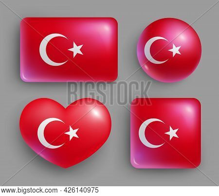 Set Of Glossy Buttons With Turkey Country Flag. Western Asia Country National Flag, Shiny Geometric