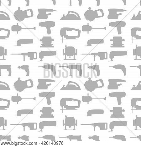 Vector Seamless Repeating Pattern And Background With Industrial Power Tools Icons. Light Gray Silho