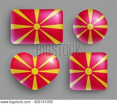 Set Of Glossy Buttons With Macedonia Country Flag. South Europe Country National Flag Shiny Badges O