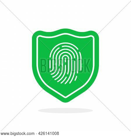 Fingerprint With Shield Like Data Protection. Concept Of Scanner For Recognition Or File Protection