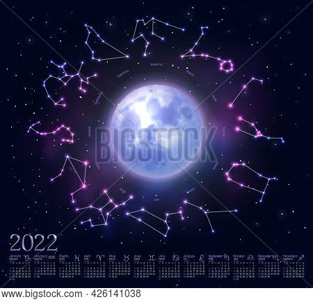 Wall Monthly Calendar With Glowing Zodiac Signs. 2022 Week Starts Sunday Calendar With Astrological