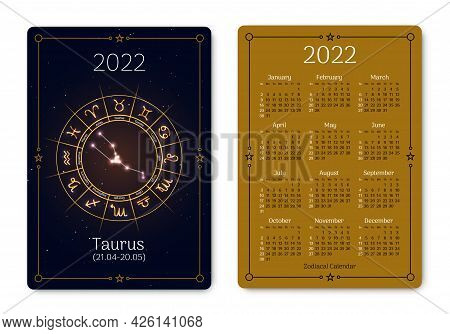 Taurus Calendar Of Pocket Size Layout Zodiac Sign. 2022 Year Double Sided Vertical Calendar With Tau