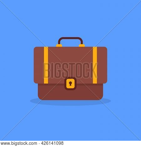 Cartoon Minimal Brown Suitcase Icon. Concept Of Briefcase For Business Or Office. Flat Style Trend M