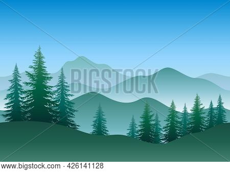 Seamless Horizontal Green And Blue Landscape, Mountains And Forest, Coniferous Trees Silhouettes. Ve