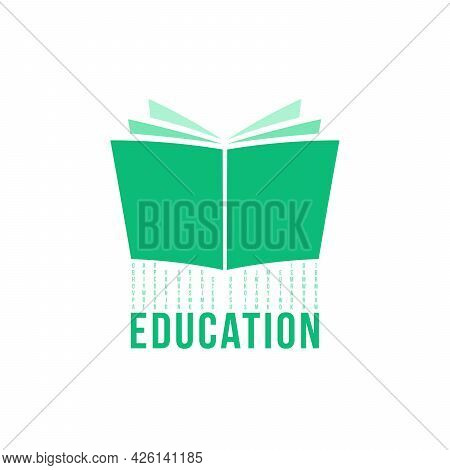 Green Open Book Like Education Logo. Concept Of Abstract Textbook And Information Or Inform. Flat Mi