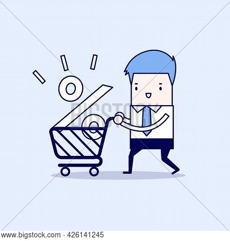 Interest Rate Shopping, Businessman Shopping For A Good Interest Rate Percentage. Cartoon Character