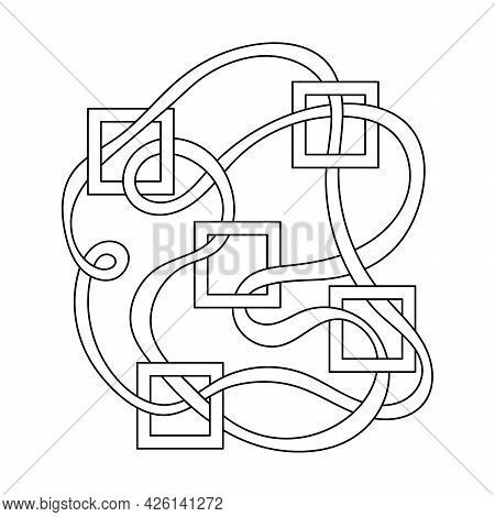 Coloring Book For Older Children. Maze, Weave Of Ribbons And Square Frames.