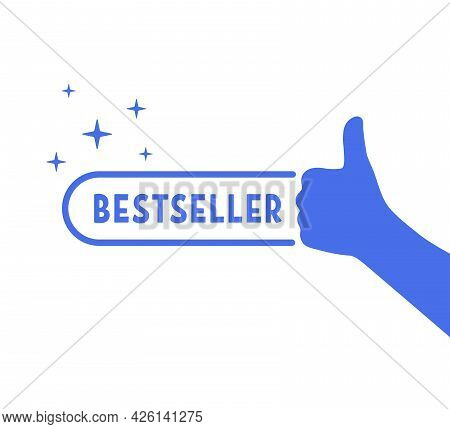 Blue Bestseller Icon With Thumb Up. Concept Of Great Recommendation Or Simple Sign Of Success In Bus