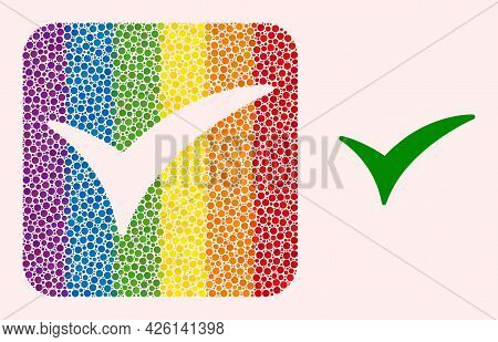 Dotted Mosaic Confirm Subtracted Pictogram For Lgbt. Rainbow Colored Rounded Rectangle Mosaic Is Aro
