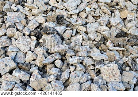Concrete After Crushing For Recycling. Reuse Crushed Concrete Rubble, Asphalt, Building Material, Bl