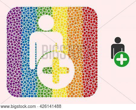 Dotted Mosaic Add Man Figure Hole Icon For Lgbt. Multicolored Rounded Square Mosaic Is Around Add Ma