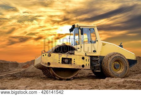 Soil Compactor For Leveling Ground For The Foundation And On Road Construction. Road Compaction Equi