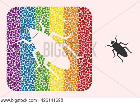 Dot Mosaic Bug Subtracted Pictogram For Lgbt. Multicolored Rounded Square Mosaic Is Around Bug Carve