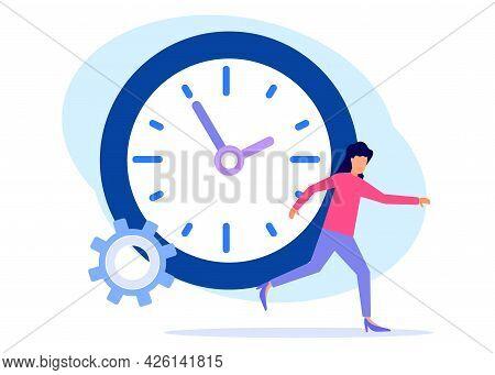 Vector Illustration, Set An Alarm Clock, Time Management Concept, Start Work, Work Team, Transfer Ti