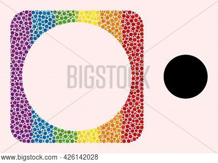Dot Mosaic Circle Subtracted Icon For Lgbt. Colored Rounded Square Mosaic Is Around Circle Subtracte