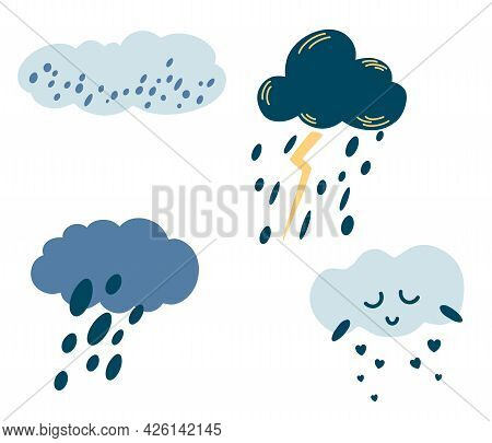 Set Of Cartoon Clouds. Cute Weather Icons. Clouds With Rain, Hail, Snow, Lightning And Cute Face. Pe