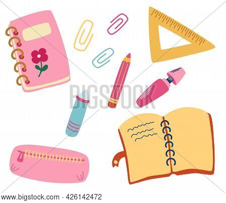 School Supplies And Items. Office Supplies: Notepad, Book, Pencil, Case, Pencil, Paper, Clips, Ruler