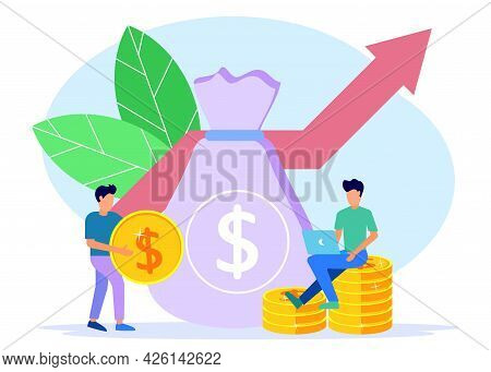 Vector Illustration Of Business Concept, Company Is Engaged In Joint Construction And Investment Of