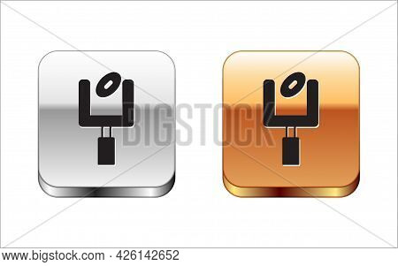 Black American Football Goal Post And Football Ball Icon Isolated On White Background. Silver And Go