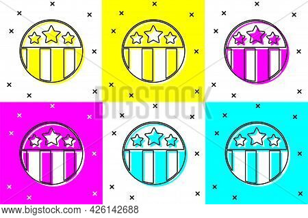Set Medal With Star Icon Isolated On Color Background. Winner Achievement Sign. Award Medal. Vector