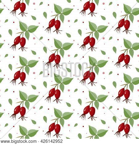 Seamless Pattern With Red Rosehip Berry And Green Leaves On A White Background. Vector Illustration