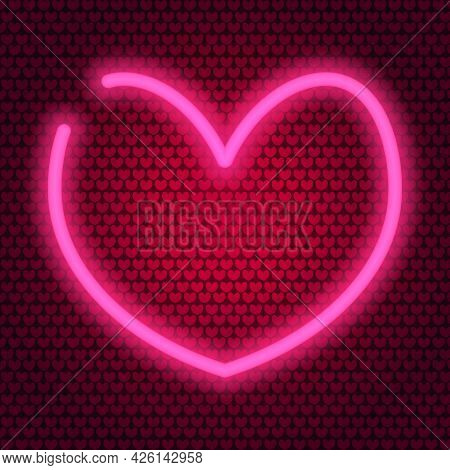 Heart. Neon Glow. Colored Vector Illustration. Isolated Background Of Pink Hearts. Valentines Day. T