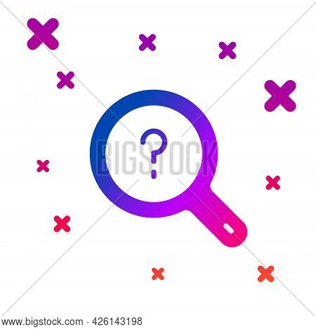 Color Unknown Search Icon Isolated On White Background. Magnifying Glass And Question Mark. Gradient