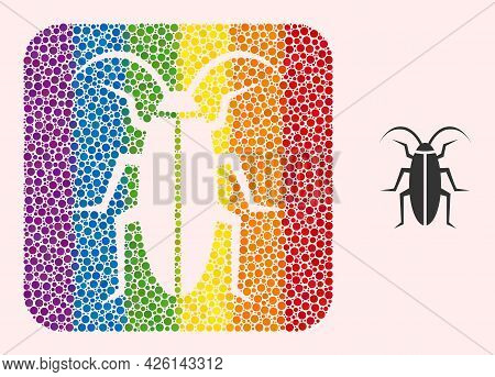 Dotted Mosaic Cockroach Stencil Icon For Lgbt. Rainbow Colored Rounded Square Collage Is Around Cock